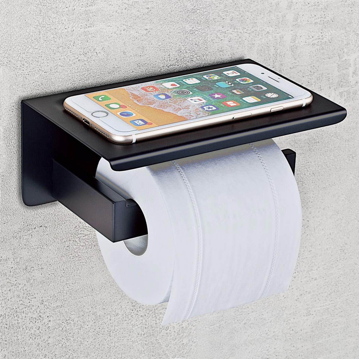 Nolimas Matte Black Toilet Paper Holder with Shelf, SUS304 Stainless Steel Bathroom Square, Modern Anti Rust Wall Mounted Tissue TP Roll Dispenser Plus Cell Mobile Phone Storage Rack
