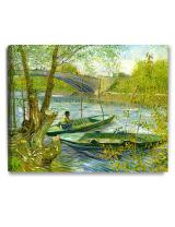 DECORARTS - Fishermen and Boats from The Pont De Clichy, Vincent Van Gogh Art Reproduction. Giclee Canvas Prints Wall Art for Home Decor 30x24