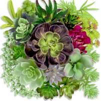 CREOPARD Artificial Succulents - 19 Pack - Premium Fake Succulent Plants - Feaux Succulent Plants Unpotted - Realistic Arrangement of Face Succulent Plants Faux Cactus String of Pearls Bulk (Brown)