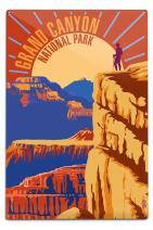 Lantern Press Hiker in Grand Canyon National Park - Psychedelic (12x18 Aluminum Wall Sign, Wall Decor Ready to Hang)