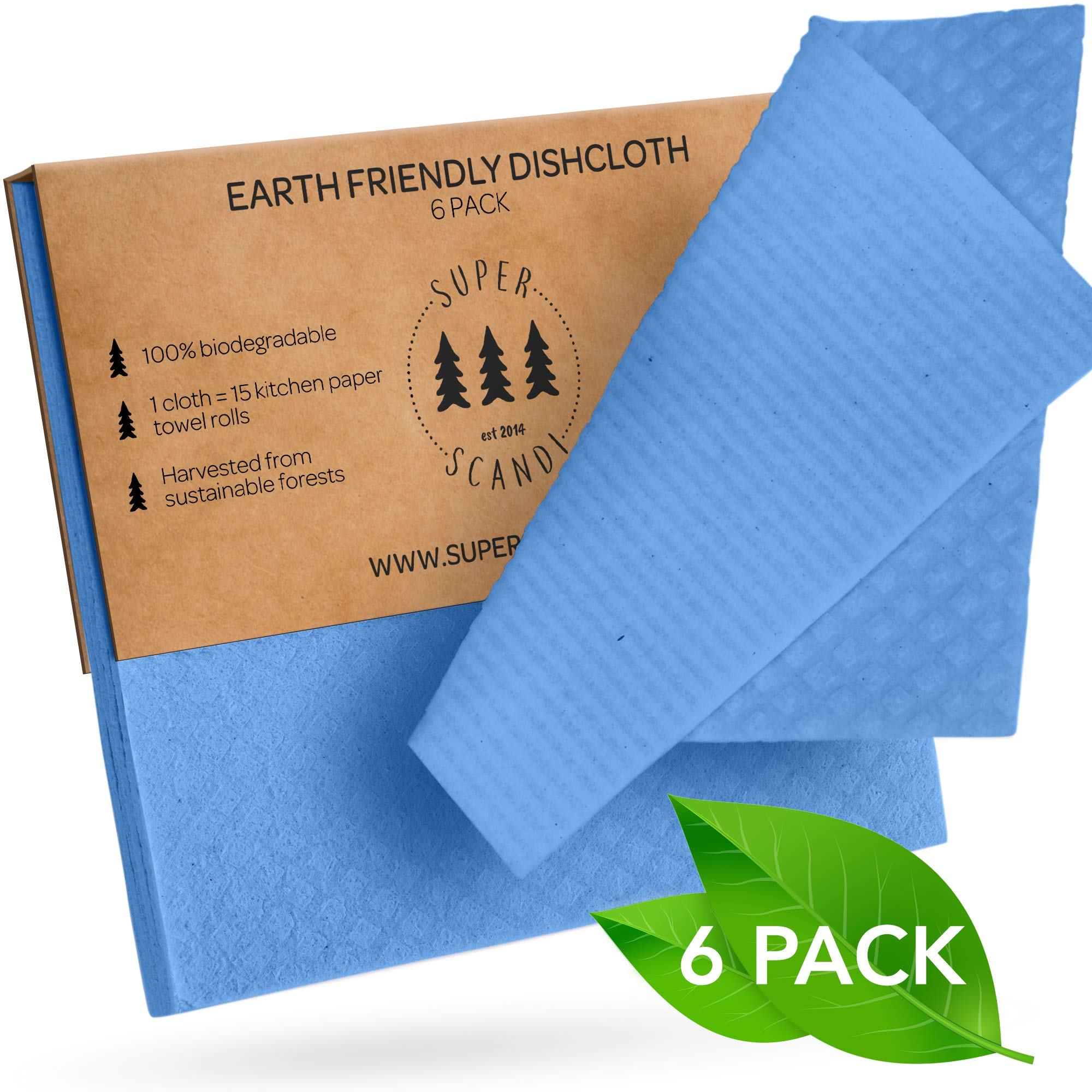 SUPERSCANDI Swedish Dishcloths Reusable Biodegradable Cellulose Sponge Cleaning Cloths for Kitchen Dish Rags Washing Wipes Paper Towel Replacement Washcloths (6 Pack Blue)