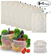 7 Pack Reusable Shopping Bags - Washable 6 Clear Cotton Mesh Bags and 1 Unclear Cotton Vegetables Bags with Tare Weight Tags for Shopping & Storage