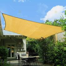 diig 10' x 13' Rectangle Shade, Sunshade Canopy Balcony Patio Yard Garden Pool Deck HDPE Cloth Fabric Sun Sail, Color Sand
