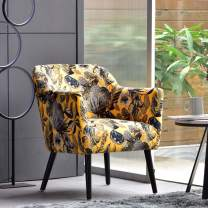 OVIOS Accent Chairs for Living Room,Floral Print Armchair for Bedroom,Tufted Clud Chair,Mordern Comfy Side Chair with Metal Leg. (Grey-Yellow)
