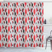 """Ambesonne Mid Century Shower Curtain, Abstract Oval Leaf Forms with Different Designs and Color Combinations, Cloth Fabric Bathroom Decor Set with Hooks, 84"""" Long Extra, Red Black"""