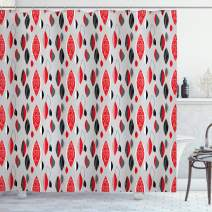 "Ambesonne Mid Century Shower Curtain, Abstract Oval Leaf Forms with Different Designs and Color Combinations, Cloth Fabric Bathroom Decor Set with Hooks, 84"" Long Extra, Red Black"