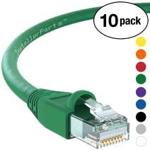 InstallerParts (10 Pack) Ethernet Cable CAT6A Cable UTP Booted 4 FT - Green - Professional Series - 10Gigabit/Sec Network/High Speed Internet Cable, 550MHZ