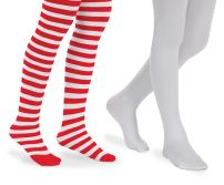 Jefferies Socks Girls Stripe Solid Book Character Dress Tights 2 Pack (8-10 Years, Red/White)