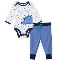 JUST BORN Baby Boys' 2-Piece Organic Long Sleeve Onesies Bodysuit and Pant Set