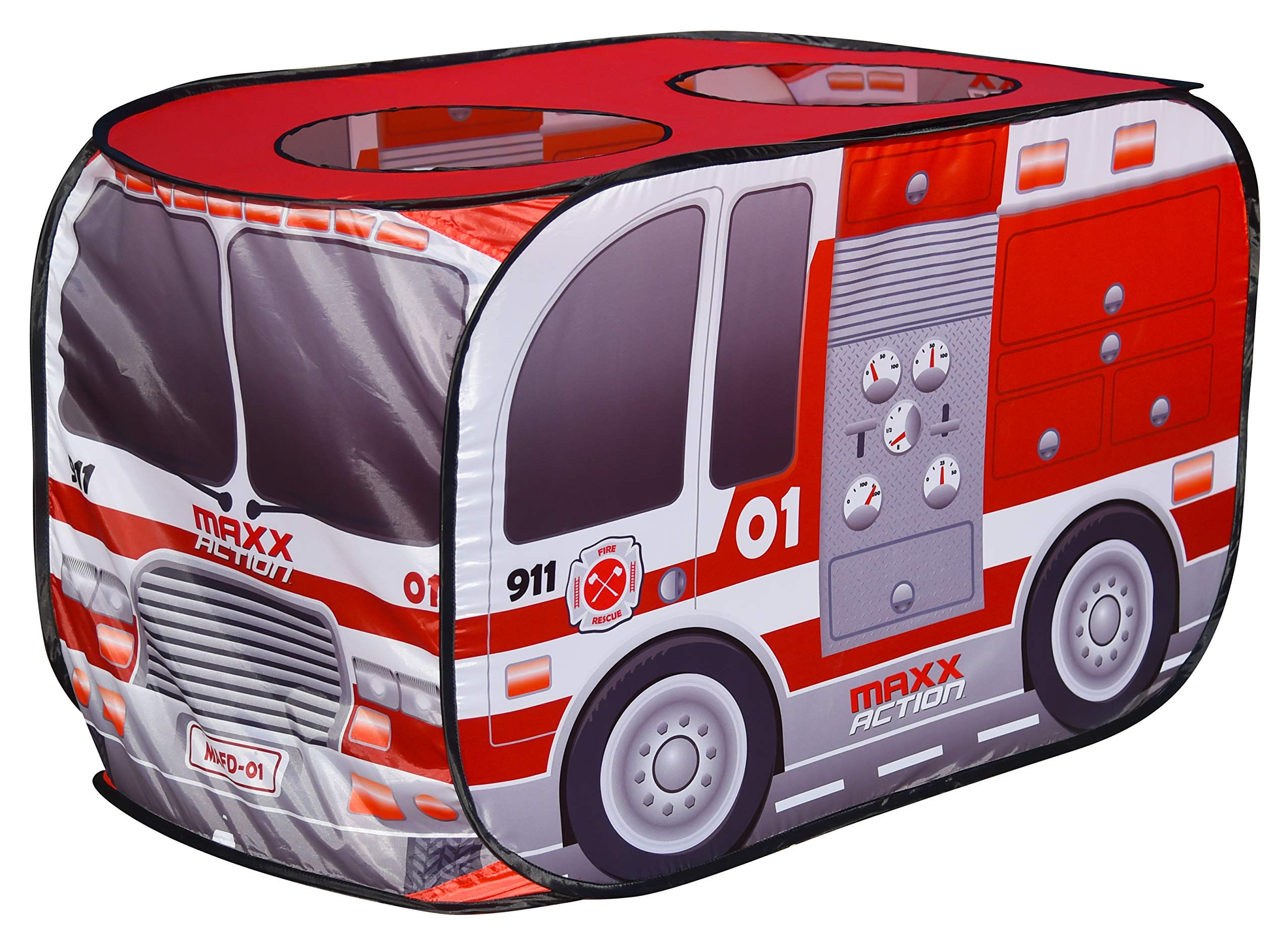 Sunny Days Entertainment Pop Up Fire Truck – Indoor Playhouse for Kids   Red Engine Toy Gift for Boys and Girls