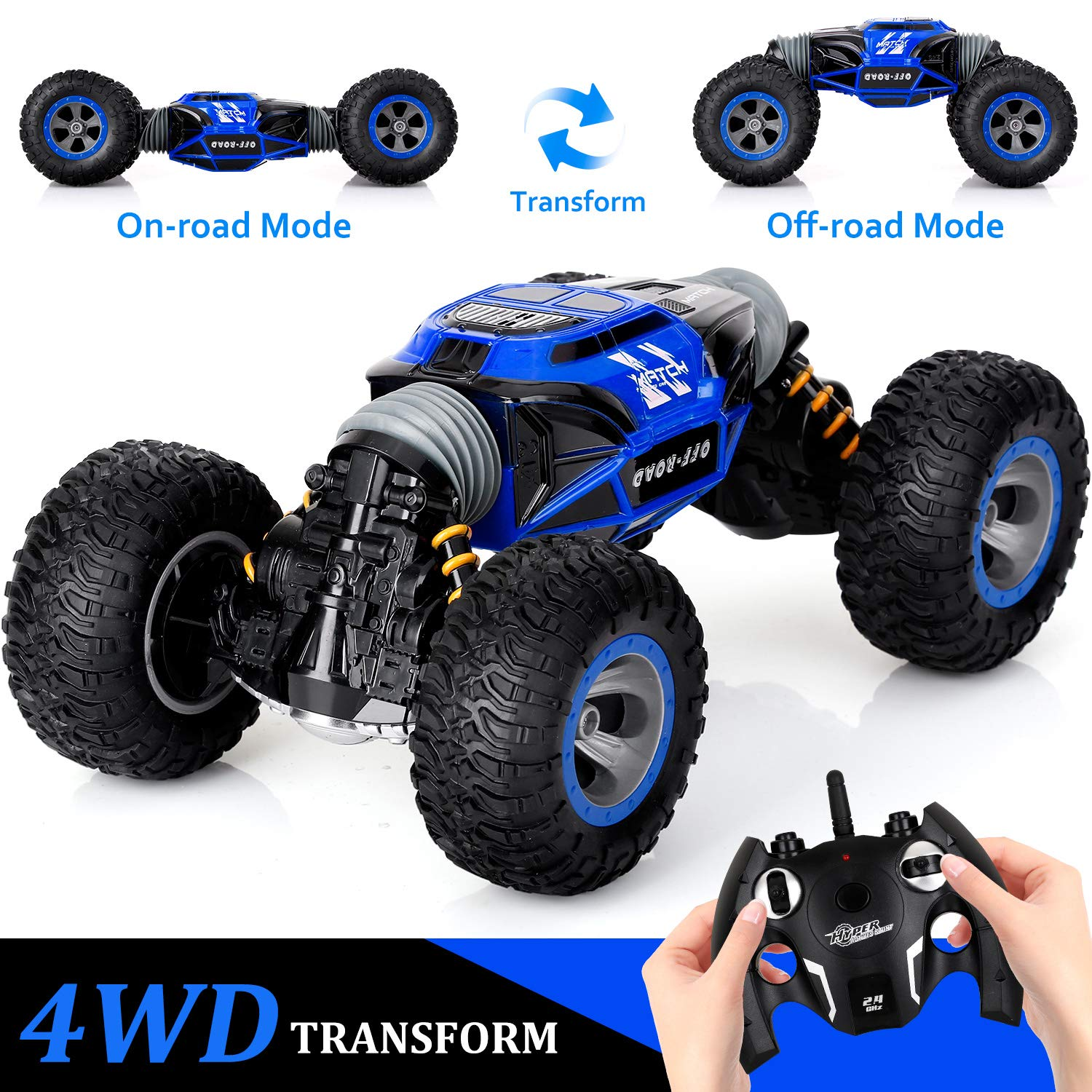 KingsDragon Remote Control Car,2.4GHZ High Speed Stunt RC Racing Cars RC Rock Crawler w/ Rechargeable Batteries,Indoor Outdoor Motors Vehicles Buggy Hobby Car Toy Gifts for Kids Boys Girls Adults-Blue