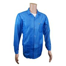 Static Care ESD Jacket,Medium Weight 90% Polyester, 10% Carbon Fabric with Lapel Collar and Snap Cuff, Blue, Extra Small