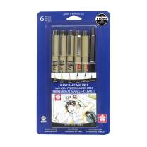 Sakura 50201 6-Piece Pigma Manga Comic Pro Drawing Kit,Black