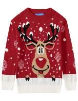 Camii Mia Big Boys' Reindeer Snowflake Pullover Crewneck Ugly Christmas Sweater