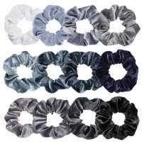 Whaline Blue Gray Theme Hair Scrunchies Velvet Elastics Scrunchy Bobbles Soft Hair Bands Hair Ties Hair Accessories for Girls, Women(12 Colors)
