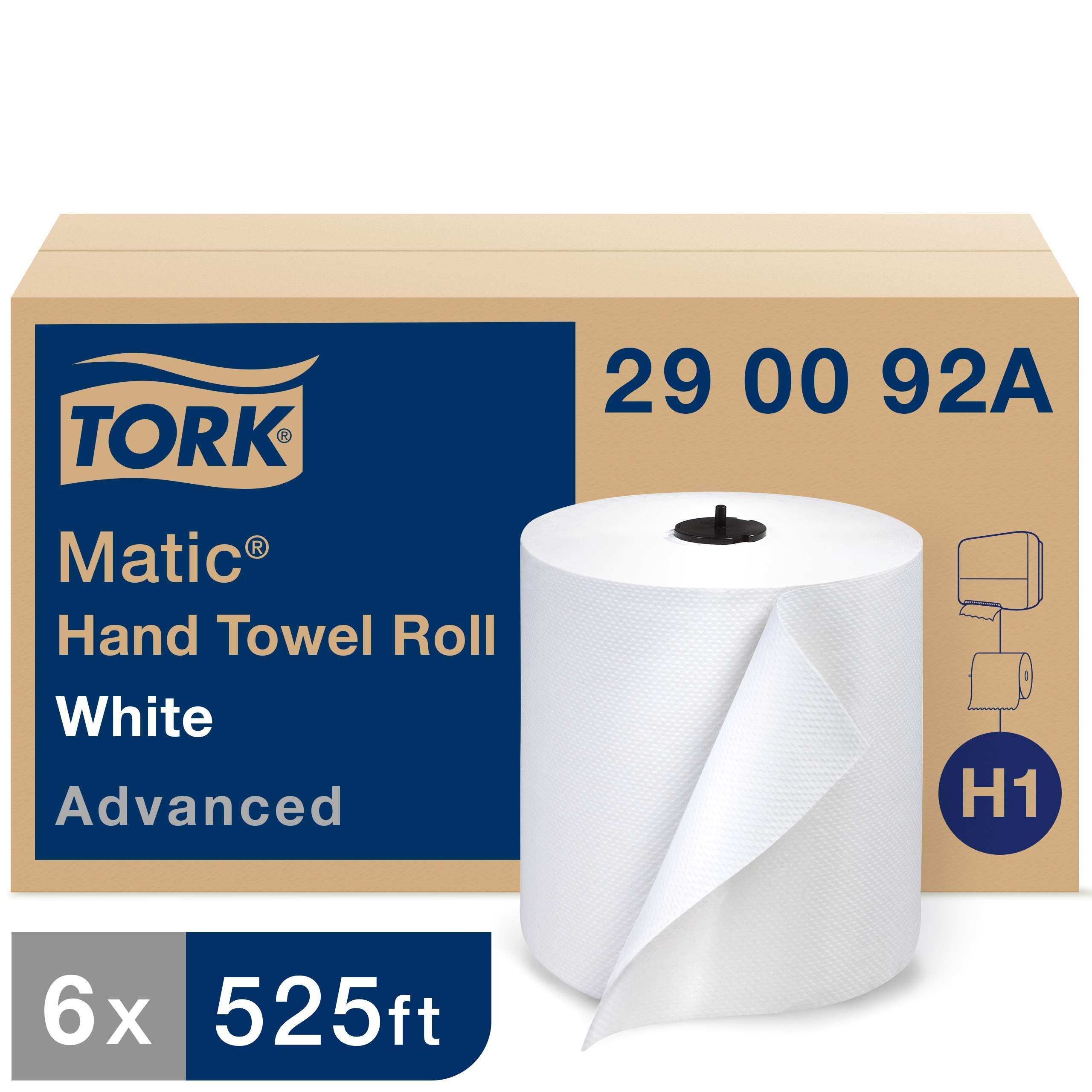Tork Matic Advanced Paper Towel Roll H1, Paper Hand Towel 290092A, 100% Recycled Fiber, High Absorbancy, Medium Capacity 2-Ply, White - 6 Rolls x 525 ft