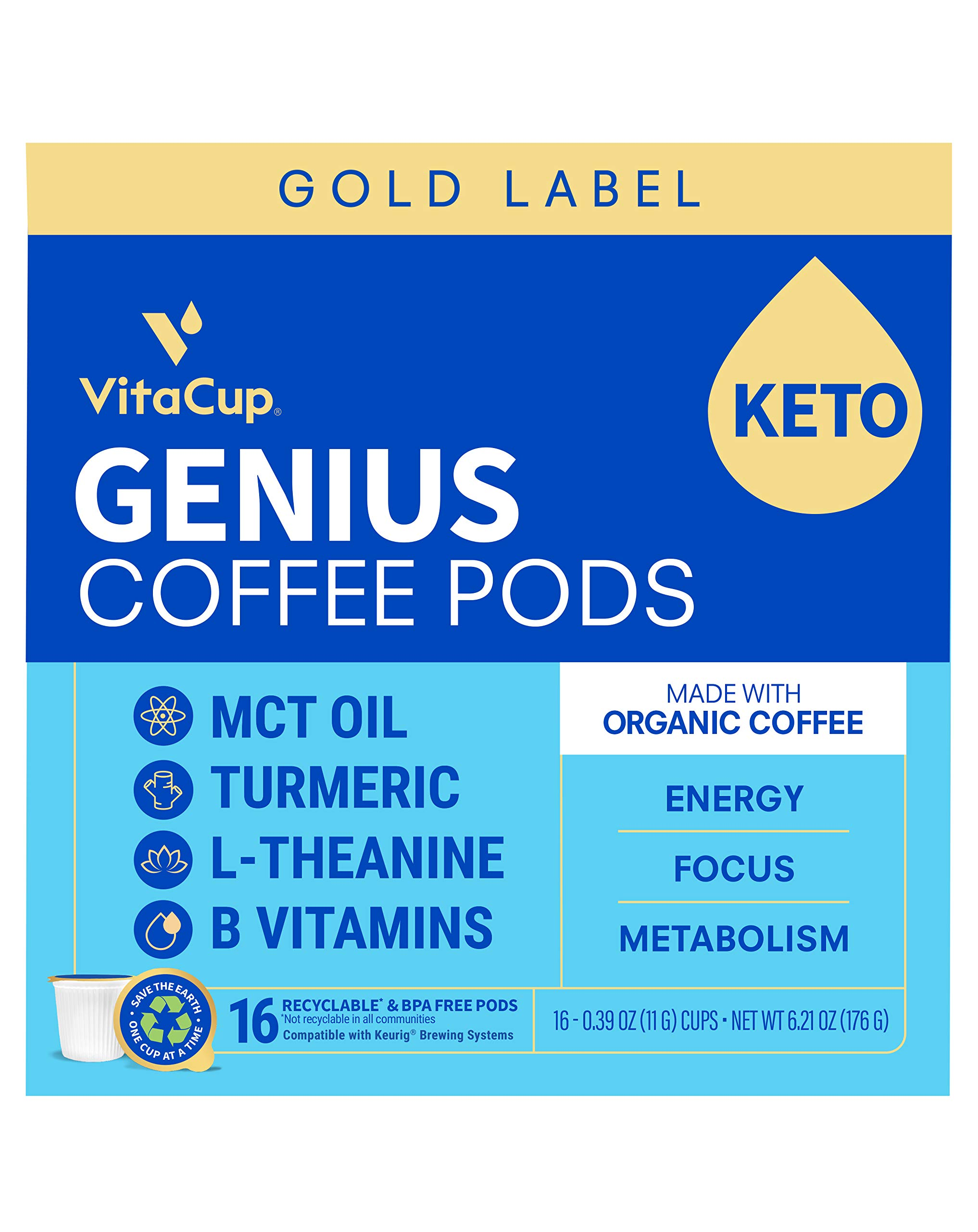 VitaCup Gold Label Genius Organic Coffee Pod with MCT, Turmeric, L-Theanine, B & D3 Vitamins for Keto Energy, Focus, & Metabolism in Recyclable Single Serve Pods Compatible with K-Cup Brewers, 16 CT
