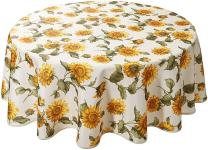 """Classic Euro Sunflower Tablecloth With Large Sunflowers Design, 60"""" Round"""