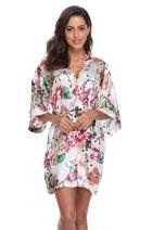 Women's Floral Robes for Bridesmaid Short Kimono Bathrobe Silky Sleepwear Satin Dressing Gowns