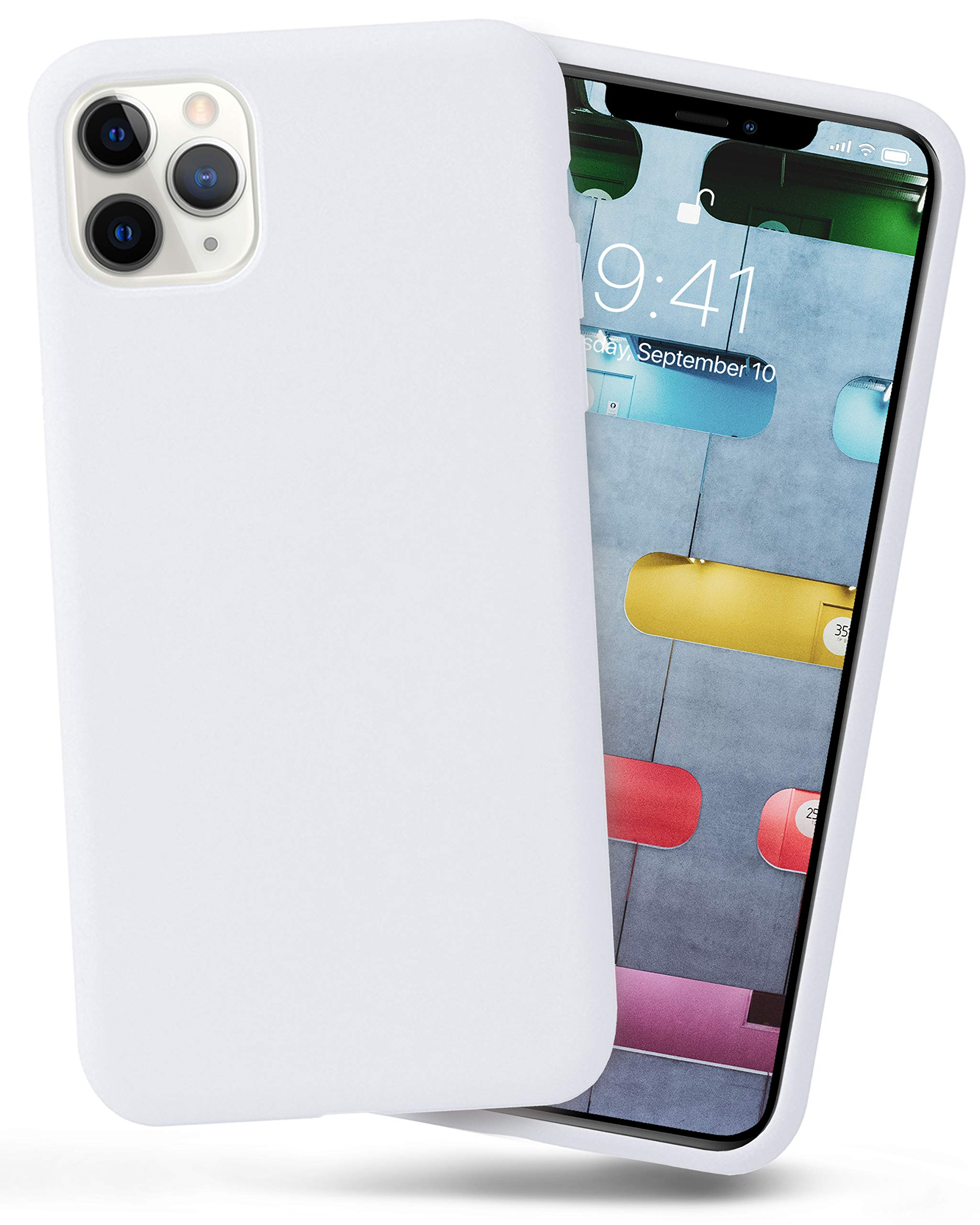 OCOMMO iPhone 11 Pro MAX Silicone Case, Full Body Shockproof Protective Liquid Silicone iPhone 11 Pro MAX Case with Soft Microfiber Lining, Wireless Charging Pad Compatible, White