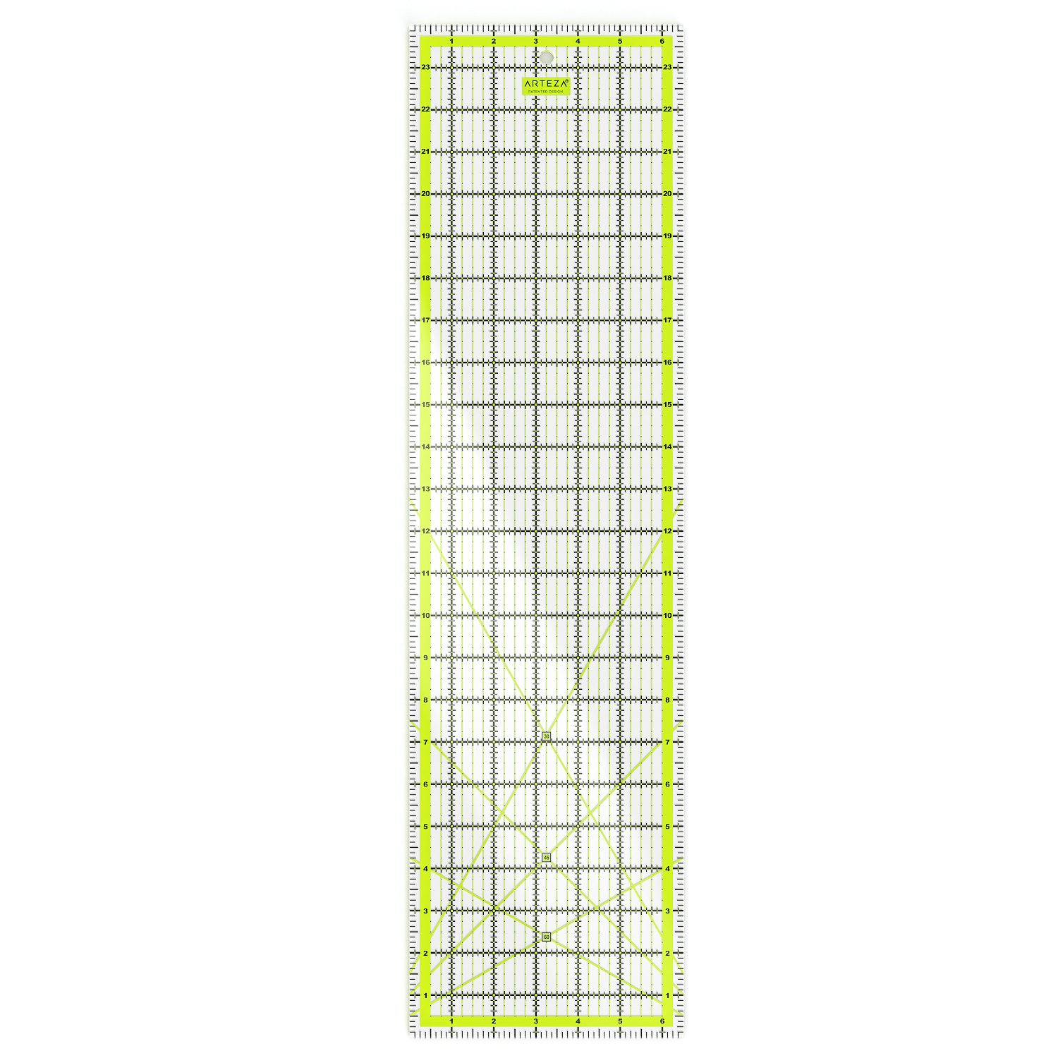 """ARTEZA Quilting Ruler, Laser Cut Acrylic Quilters' Ruler with Patented Double Colored Grid Lines for Easy Precision Cutting, 6.5"""" Wide x 24"""" Long for Quilting, Sewing & Crafts, Black & Lime Green"""