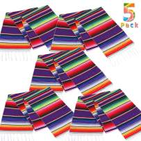 Lansian Mexican Serape Table Runner 14 x 84 Colorful Striped Fringe Cotton for Fiesta Wedding Carnival Cinco De Mayo Party Supplies, 5 Pack