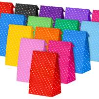 Tatuo 24 Pieces Party Bags Gift Dot Paper Bags Grocery Bags Craft Paper Bags Lunch Flat Bottom Paper Bags (22 x 12 x 8 cm, 12 Colors)