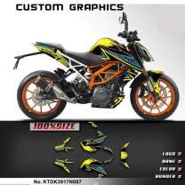 Kungfu Graphics Custom Decal Kit for 2017 2018 2019 Duke 390 DUKE390, Yellow Blue Black, KTDK3917N007