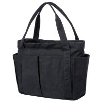 Riavika Canvas Weekend Tote Bag Shoulder Bag for Women-Black