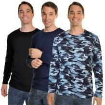 Swan Men's Fleece-Lined Crew Neck Long Sleeve Thermal Tops