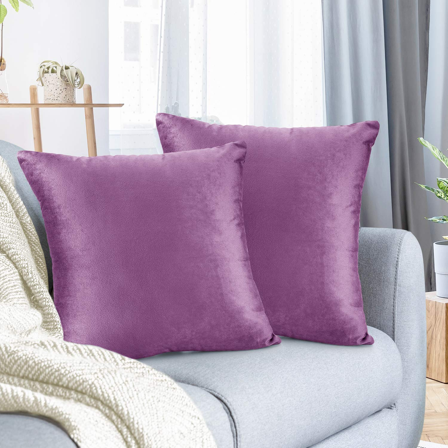 """Nestl Bedding Throw Pillow Cover 18"""" x 18"""" Soft Square Decorative Throw Pillow Covers Cozy Velvet Cushion Case for Sofa Couch Bedroom, Set of 2, Lavender Dream"""