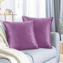 """Nestl Bedding Throw Pillow Cover 22"""" x 22"""" Soft Square Decorative Throw Pillow Covers Cozy Velvet Cushion Case for Sofa Couch Bedroom, Set of 2, Lavender Dream"""