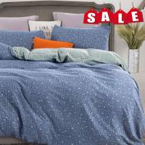 ATsense Duvet Cover Queen, Ultra Soft 100% Washed Microfiber, Blue Bedding Duvet Cover Set,3-Piece, Modern Fashion Print Pattern(Blue, H004QU)
