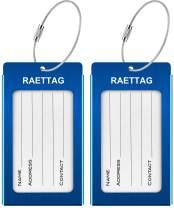 Luggage Tags, RAETTAG Metal Suitcase Tags Travel Bag ID Identifier Luggage Tag (2Pack - Blue)