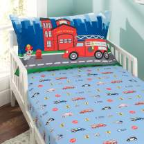 EVERYDAY KIDS Toddler Fitted Sheet and Pillowcase Set -Fire Police Rescue- Soft Microfiber, Breathable and Hypoallergenic Toddler Sheet Set
