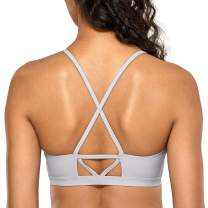 CRZ YOGA UPF 50+ High Neck Swimsuits for Women Bikini Top Cross Back Padded Sports Bra
