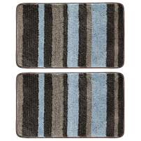 """mDesign Soft Microfiber Polyester Non-Slip Spa Mat, Plush Water Absorbent Accent Rug for Bathroom Vanity, Bathtub/Shower - Machine Washable, Striped Design, 34"""" x 21"""" - 2 Pack - Mocha Brown/Gray"""