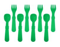 Re-Play Made in The USA 8 Count Spoon and Fork Utensil Set for Baby and Toddler - Kelly Green