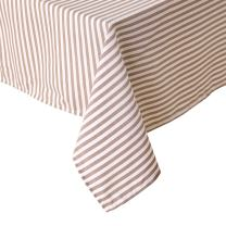 Deconovo Tablecloths Water Resistant Cover Premium Striped Table Cloth for Dining Room 2 Pieces, 54x54 Inch, White and Brown