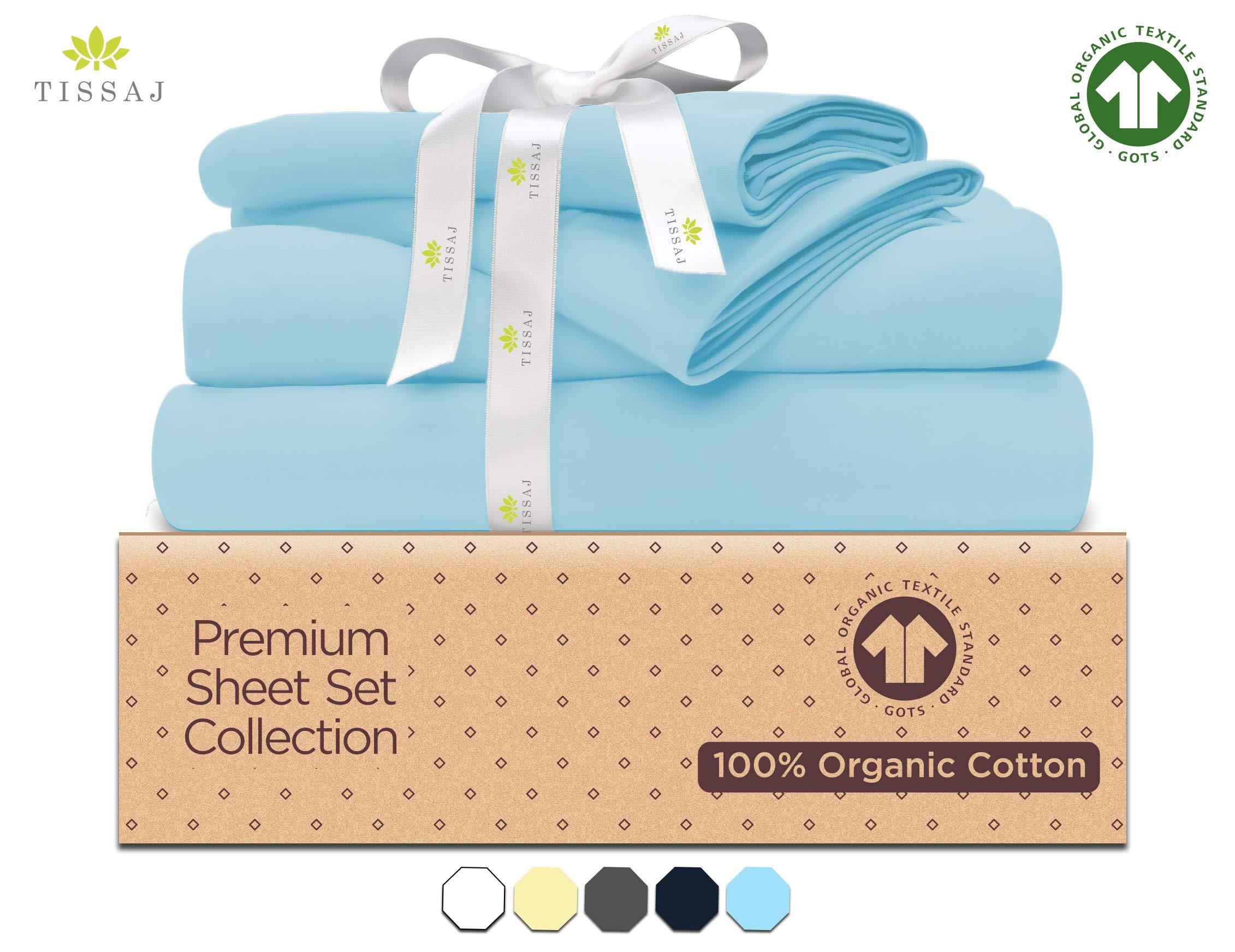 "500-Thread-Count Organic Cotton Bed Sheets - Set - 500TC King Size Ice Blue - 4 Piece Bedding - 100% GOTS Certified Extra Long Staple, Soft Sateen Weave Finish Bedsheet - Fits 15"" Deep Pocket Mattress"
