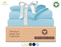 "500-Thread-Count Organic Cotton Bed Sheets-Set - 500TC California King Size Ice Blue - 4 Piece Bedding - 100% GOTS Certified Extra Long Staple, Soft Sateen Bedsheets - Fits 15"" Deep Pocket Mattress"