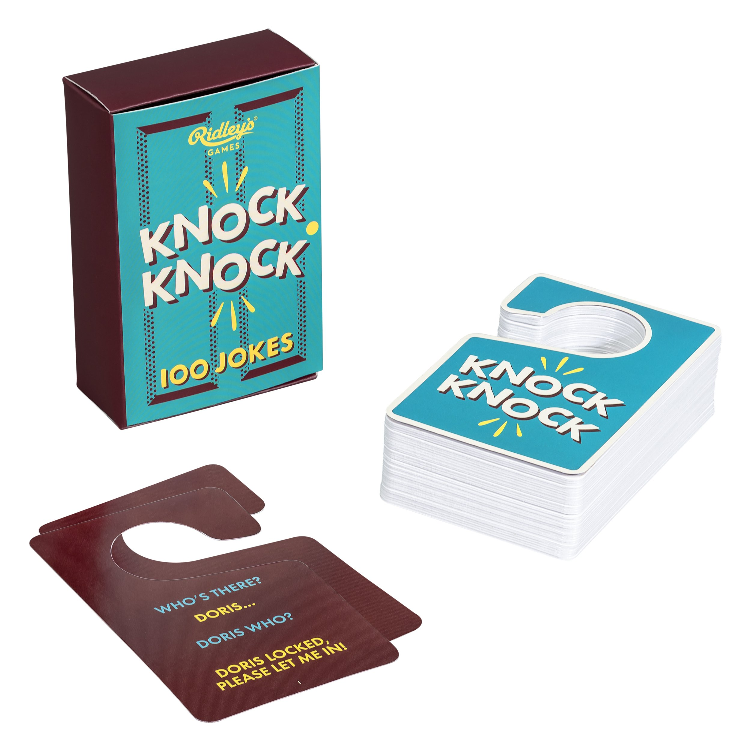 Ridley's 100 Knock Knock Door Hanger Shaped Hilarious Joke Cards for Adults and Kids