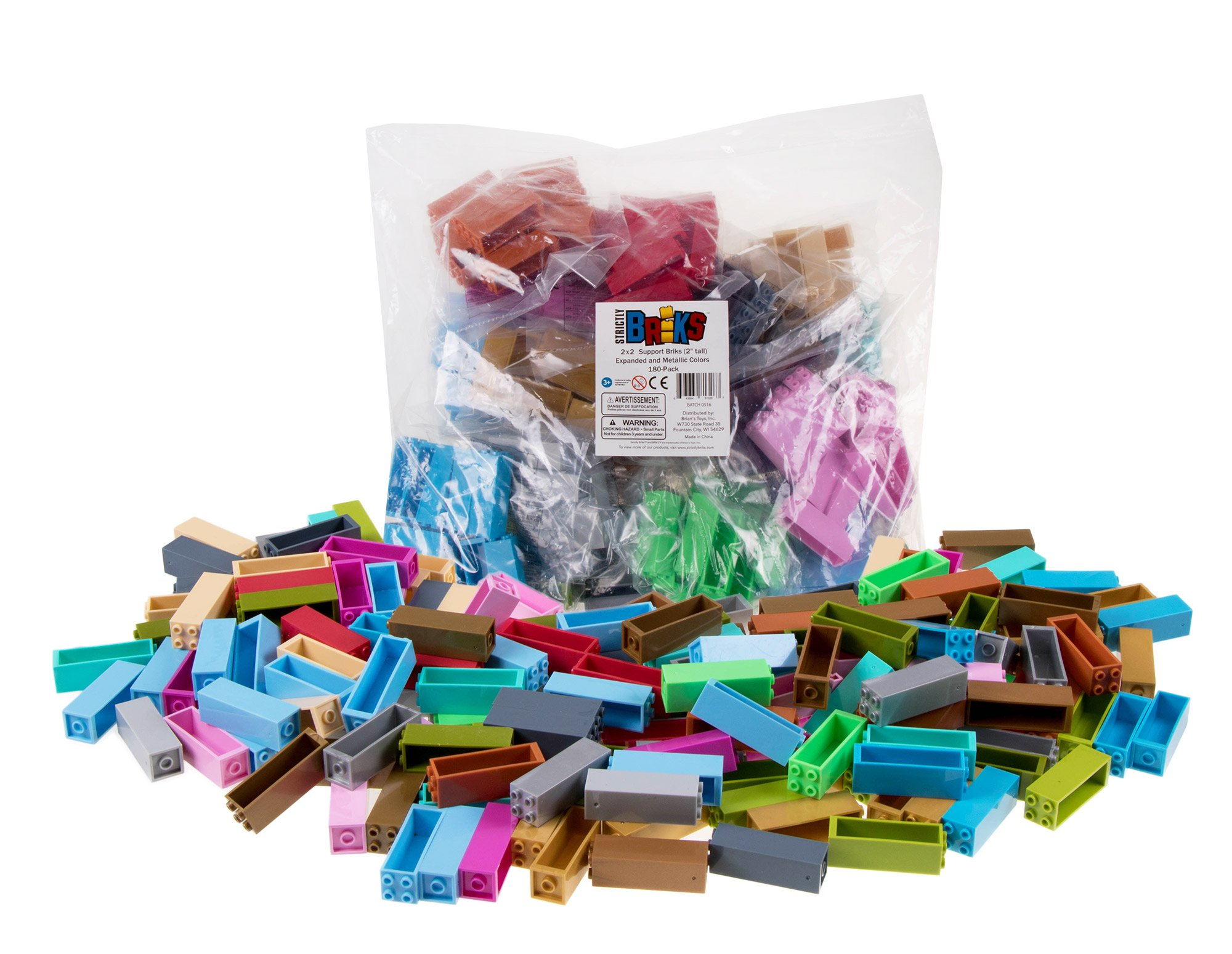 Strictly Briks Classic Stackers Set of 180 Building Bricks | New and Improved 2x2 Stackers for Towers and More! | 100% Compatible with All Major Brands | Rainbow and Metallic Colors
