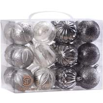 """Sea Team 60mm/2.36"""" Decorative Shatterproof Painting & Glitering Designs Christmas Ornaments Christmas Balls Set Embossed Finish Surface, 24-Pack, Silver"""