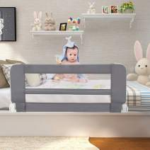 "Sotech Bed Rails for Toddlers, Swing Down Safety Bed Guard for Convertible Crib, 40"" Folding Baby Bed Rail for Kids, Twins, Full Size Queen & King Mattress (Grey)"