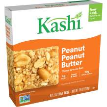 Kashi Chewy Peanut, Peanut Butter Granola Bars - Vegan, Box of 6 (Pack of 8)