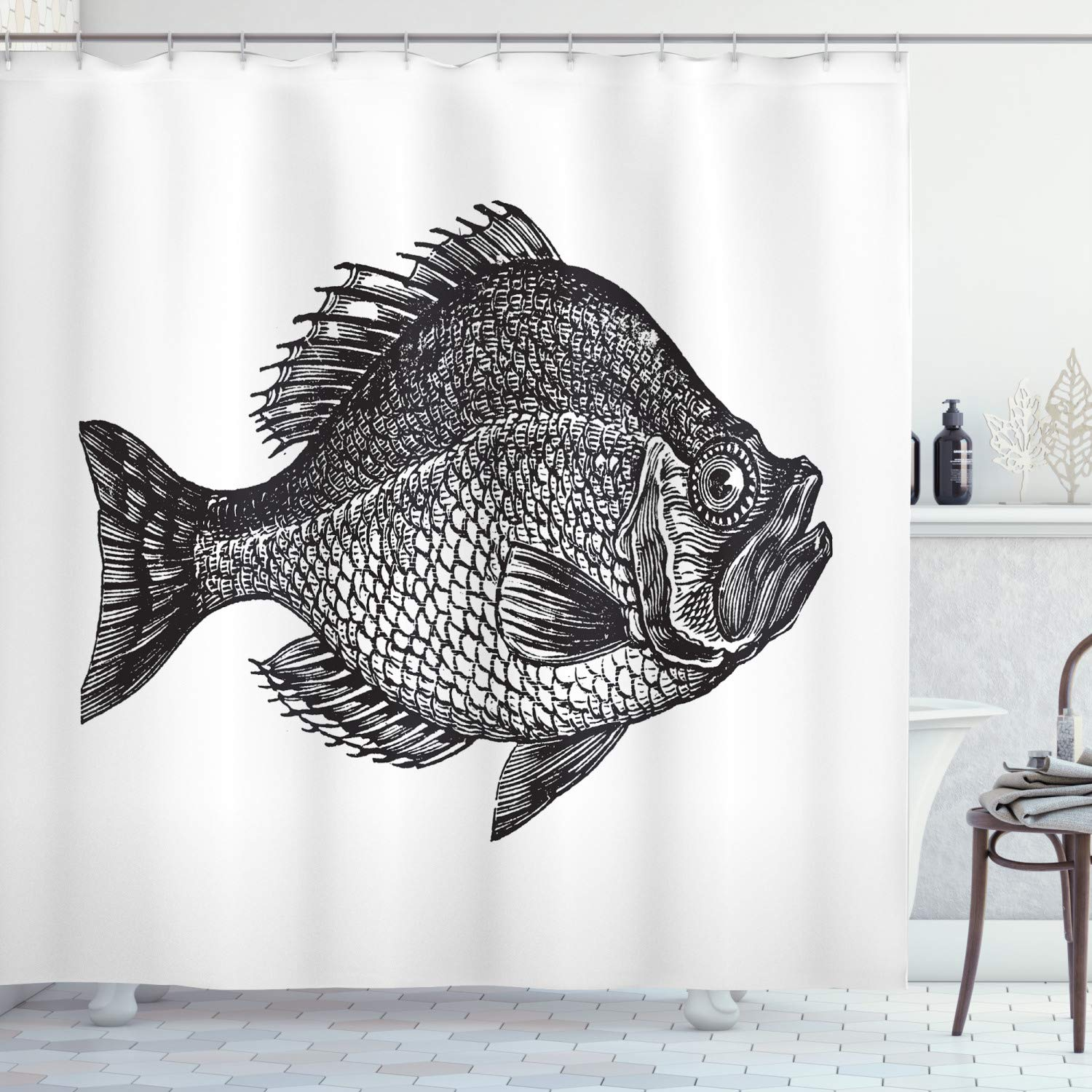 Ambesonne Fish Shower Curtain Vintage Design Rock Bass Fish Hand Drawn In Black And White Aquatic Image Cloth Fabric Bathroom Decor Set With Hooks 70 Long Grey White