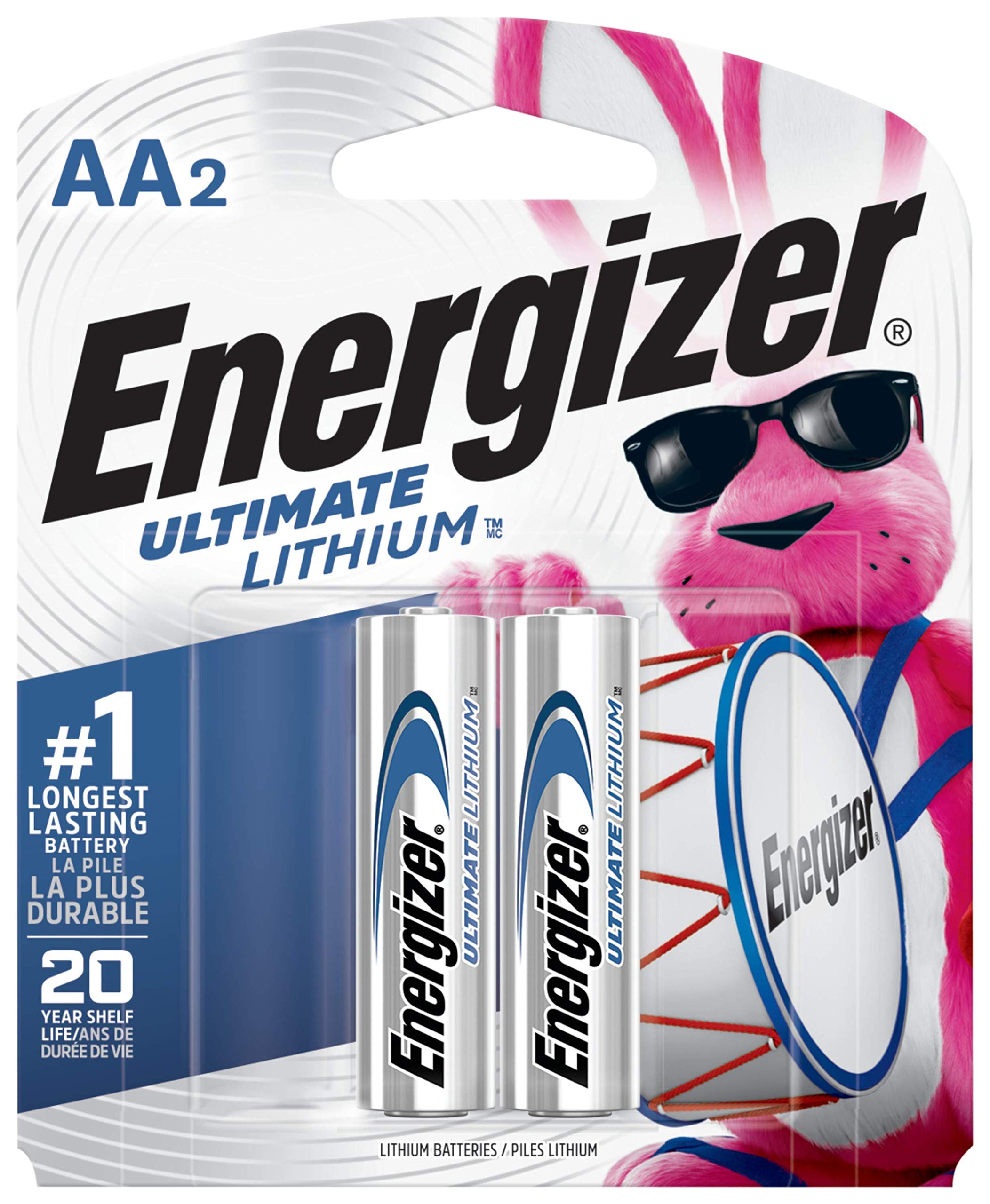 Energizer AA Lithium Batteries, World's Longest Lasting Double A Battery, Ultimate Lithium (2 Battery Count)