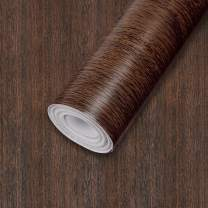 """Wall Paper Walnut Wood Grain Contact Paper 17.7""""x 118"""" PVC Self Adhesive Wood Wallpaper Waterproof Easy to Clean Wall Covering for Home Decoration and Furniture Renovation"""