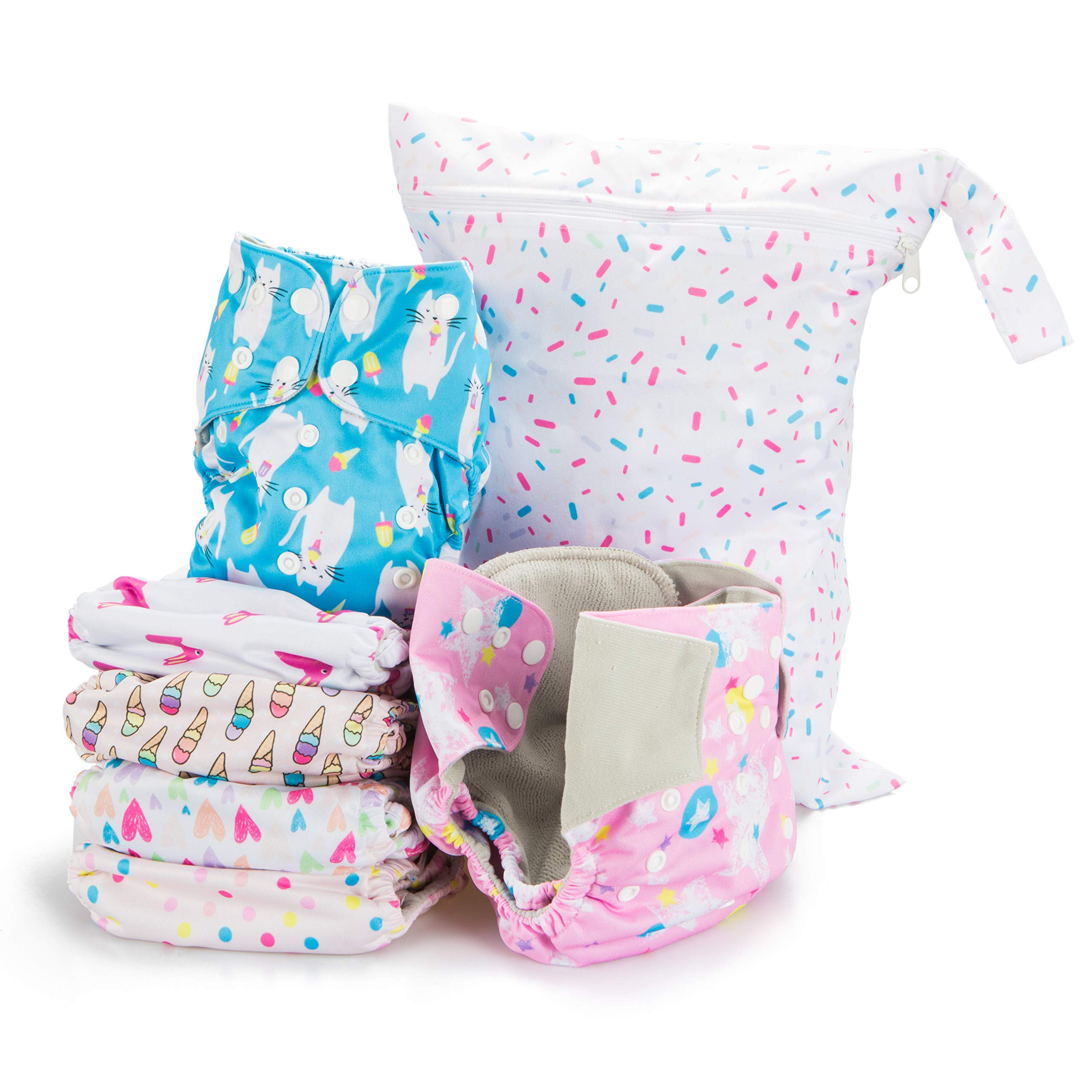 Simple Being Reusable Cloth Diapers- Double Gusset-6 Pack Pocket Adjustable Size-Waterproof Cover-6 Inserts-Wet Bag (Sweet)